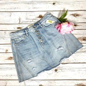 Free People Distressed High Waist Denim Mini Skirt
